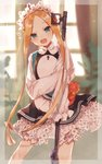1girl :d abigail_williams_(fate/grand_order) bangs black_dress blonde_hair bloomers blue_eyes blurry blurry_background blush butterfly_hair_ornament commentary curtains depth_of_field dress eyebrows_visible_through_hair fate/grand_order fate_(series) forehead hair_ornament head_tilt heroic_spirit_chaldea_park_outfit highres holding indoors keyhole long_hair long_sleeves open_mouth parted_bangs riruno round_teeth shirt sidelocks sleeveless sleeveless_dress sleeves_past_fingers sleeves_past_wrists smile solo stuffed_animal stuffed_toy teddy_bear teeth tentacles underwear upper_teeth very_long_hair white_bloomers white_shirt window
