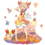 1girl animal_ears autumn_leaves blonde_hair bloomers clenched_hand fennekin fox_ears full_body hand_on_hip icywood mary_janes one_eye_closed open_mouth orange_shoes outdoors personification pokemon pokemon_(creature) red_eyes shoes standing tail underwear v