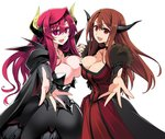 2girls breast_press breasts bridal_gauntlets brown_hair cape choker cleavage commentary_request covered_navel demon_horns dual_persona holding_hands horns interlocked_fingers ishida_akira large_breasts long_hair looking_at_viewer maou_(maoyuu) maoyuu_maou_yuusha multiple_girls open_mouth pink_eyes promotional_art reaching_out red_eyes red_hair shoulder_pads smile symmetrical_docking