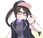 1girl baseball_cap black-framed_eyewear black_hair blue_eyes commentary disco_brando english_commentary glasses grin hat idolmaster idolmaster_shiny_colors long_hair looking_at_viewer mitsumine_yuika ok_sign simple_background smile solo twintails twitter_username underwear white_background