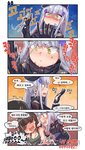 2girls 4koma :d >_< aningay bangs beret black_gloves black_headwear blush bound breasts cleavage closed_eyes closed_mouth comic eyebrows_visible_through_hair eyepatch facial_mark girls_frontline gloves green_tank_top hair_ornament hat highres hk416_(girls_frontline) holding jacket korean_text long_hair long_sleeves m16a1_(girls_frontline) m16a1_(girls_frontline)_(boss) medium_breasts multiple_girls open_mouth profile purple_jacket shaded_face silver_hair small_breasts smile tank_top tied_up translation_request trembling v-shaped_eyebrows