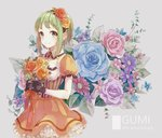1girl anniversary black_gloves blue_rose bouquet character_name detached_collar dress floral_background flower frilled_dress frilled_sleeves frills gem gloves green_eyes green_hair gumi hair_flower hair_ornament hairband holding holding_bouquet kawashima_taro leaf looking_at_viewer number orange_dress orange_rose pink_rose puffy_short_sleeves puffy_sleeves purple_rose red_rose rose short_hair short_sleeves sidelocks smile solo vocaloid wing_collar yellow_rose