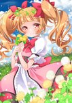 1girl aisaki_emiru arms_up bangs blue_sky blunt_bangs blurry blush bow bowtie cloud commentary_request dandelion day depth_of_field dress eyebrows_visible_through_hair field flower flower_field grass hair_ribbon hands_together head_wreath heart hill holding holding_flower hugtto!_precure kawanobe layered_dress light_particles long_hair looking_at_viewer orange_hair outdoors petticoat pink_dress precure puffy_short_sleeves puffy_sleeves red_eyes red_neckwear ribbon short_sleeves sky smile solo twintails twitter_username