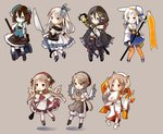 6+girls :d animal_ear_fluff animal_ears apron ascot bangs bare_shoulders beret black_cape black_dress black_footwear black_hair black_headwear black_legwear black_skirt blue_dress blue_eyes blue_skirt blue_vest blush boots brown_apron brown_background brown_gloves brown_hair cape capelet chibi closed_mouth crystal detached_sleeves dress eyebrows_visible_through_hair feathered_wings fire fox_ears fox_girl fox_tail gloves green_eyes grey_hair hagoromo hair_between_eyes hair_ornament hat holding holding_hammer holding_staff hood hood_up hooded_capelet japanese_clothes kimono leaf_hair_ornament long_sleeves multicolored_hair multiple_girls off_shoulder open_mouth orange_eyes orange_hair orange_legwear original pants pantyhose parted_bangs pleated_skirt puffy_pants puffy_short_sleeves puffy_sleeves red_dress rolling_pin sailor_collar sailor_dress shadow shawl shirt shoes short_sleeves single_detached_sleeve skirt sleeveless sleeveless_dress sleeves_past_wrists smile staff streaked_hair tail tilted_headwear v-shaped_eyebrows vest whisk white_capelet white_footwear white_hair white_headwear white_kimono white_legwear white_pants white_sailor_collar white_shirt white_wings wide_sleeves wings yellow_neckwear yuzuyomogi