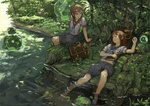 2girls bag barefoot book brown_eyes brown_hair creature feet_in_water forest kureta_(nikogori) lying midriff multiple_girls nature on_back original plant river school_bag school_uniform shade shirt shorts sitting sleeping smile soaking_feet water
