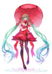 1girl dress flower garters gloves green_eyes green_hair hair_flower hair_ornament hatsune_miku long_hair mitsuki_hana pantyhose red_dress smile solo striped striped_legwear twintails umbrella vertical-striped_legwear vertical_stripes very_long_hair vocaloid white_background
