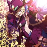1girl black_legwear blonde_hair blurry capelet carol_malus_dienheim claws commentary_request depth_of_field elbow_gloves gloves hair_between_eyes hat highres hinomoto_madoka looking_at_viewer open_mouth outstretched_arm purple_hair ribs senki_zesshou_symphogear shiny shiny_hair shiny_skin short_hair skirt solo spoilers teeth thighhighs witch_hat