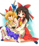2girls :3 blush_stickers hakurei_reimu ibuki_suika michii_yuuki multiple_girls saliva touhou yuri