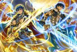 2boys armor boots cape commentary_request company_name copyright_name falchion_(fire_emblem) fingerless_gloves fire_emblem fire_emblem:_kakusei fire_emblem:_monshou_no_nazo fire_emblem_cipher gauntlets gloves glowing glowing_weapon holding holding_sword holding_weapon jewelry kita_senri knee_boots krom looking_at_viewer looking_back marth monster multiple_boys official_art pants pauldrons short_sleeves shoulder_armor smile sword tiara weapon