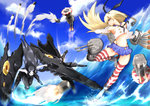 2girls >:) afloat anchor_hair_ornament ankle_boots battle big.g black_hair blonde_hair blue_sky boots brown_eyes chasing elbow_gloves firing gloves grey_boots hair_ornament kantai_collection long_hair machinery midriff missile multiple_girls ocean pleated_skirt rensouhou-chan ru-class_battleship running school_uniform serafuku shimakaze_(kantai_collection) shinkaisei-kan skirt sky striped striped_legwear thighhighs turret white_skin