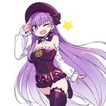 1girl ;d arm_at_side arm_up bare_shoulders bb_(fate/extra_ccc) blush_stickers breasts chan_co cleavage commentary_request cosplay detached_collar detached_sleeves dress eyebrows_visible_through_hair fate/grand_order fate_(series) hat helena_blavatsky_(fate/grand_order) helena_blavatsky_(fate/grand_order)_(cosplay) large_breasts leg_up long_hair long_sleeves looking_at_viewer one_eye_closed open_mouth purple_dress purple_eyes purple_hair purple_legwear salute short_dress simple_background sleeves_past_wrists smile solo star thighhighs very_long_hair