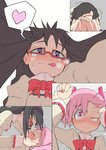 2girls :< :p akemi_homura assertive barefoot black_hair blush comic foreshortening from_below glasses hair_ribbon hair_tucking half-closed_eye heart heart-shaped_pupils heavy_breathing imminent_kiss kaname_madoka leaning_forward licking_lips looking_at_viewer mahou_shoujo_madoka_magica multiple_girls no_legwear on_person outstretched_arm perspective pink_eyes pink_hair pov purple_eyes red_glasses restrained ribbon salpin school_uniform short_twintails silent_comic smile spoken_heart sweat symbol-shaped_pupils tongue tongue_out twintails uneven_eyes wrist_grab yuri