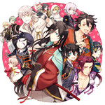 6+boys ;d androgynous black_gloves black_hair blonde_hair blue_eyes braid brown_hair fang fox gloves green_hair grin hakama higekiri_(touken_ranbu) hizamaru_(touken_ranbu) honebami_toushirou horikawa_kunihiro houhou_(black_lack) izumi-no-kami_kanesada japanese_clothes katana katsugeki/touken_ranbu konnosuke male_focus mikazuki_munechika military military_uniform multiple_boys mutsu-no-kami_yoshiyuki necktie one_eye_closed oodenta_mitsuyo open_mouth partly_fingerless_gloves purple_eyes red_hair saniwa_(katsugeki/touken_ranbu) saniwa_(touken_ranbu) sheath sheathed side_braid smile sword tonbokiri_(touken_ranbu) touken_ranbu tsurumaru_kuninaga uniform weapon white_gloves white_hair yagen_toushirou yamanbagiri_kunihiro yellow_eyes