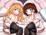 2girls :d bangs bed_sheet black_legwear blonde_hair blue_eyes blush breasts brown_hair brown_panties collarbone commentary_request eyebrows_visible_through_hair frilled_legwear garter_straps green_eyes hair_between_eyes hair_ornament interlocked_fingers long_hair looking_at_viewer lying maid_headdress mochiyuki multiple_girls nipples on_side open_mouth original panties parted_lips pillow plaid plaid_panties small_breasts smile striped take_your_pick thighhighs topless underwear underwear_only vertical-striped_panties vertical_stripes very_long_hair wrist_cuffs x_hair_ornament