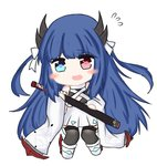 1girl azur_lane bailingxiao_jiu bangs bare_shoulders black_legwear blue_eyes blue_hair blush_stickers bow chibi detached_sleeves dress eyebrows_visible_through_hair fang flying_sweatdrops full_body hair_bow heart heart-shaped_pupils heterochromia holding holding_sheath horns ibuki_(azur_lane) katana long_hair long_sleeves looking_at_viewer open_mouth pleated_dress red_eyes sheath sheathed simple_background solo standing sword symbol-shaped_pupils thighhighs two_side_up very_long_hair weapon white_background white_bow white_dress white_footwear wide_sleeves