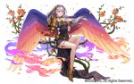 1girl black_dress bracer breasts dress elbow_gloves esukee feathered_wings flower full_body gloves gold_footwear invisible_chair long_hair official_art purple_eyes red_gloves rose seisen_cerberus shoulder_armor silver_hair sitting small_breasts solo thorns watermark white_background wings
