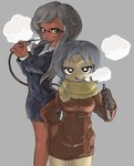 2girls blazer blue_hair breasts buttons cloud collared_shirt dark_skin glasses gloves gobori grey_background grey_hair half-closed_eyes hand_in_pocket height_difference holding inhaling jacket long_hair long_sleeves looking_at_viewer medium_breasts medium_hair multiple_girls open_mouth original pixel_art scarf shirt simple_background skirt smoke star star-shaped_pupils symbol-shaped_pupils vapors