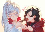 2girls black_hair blue_eyes blush cloak closed_eyes cookie cross drooling feeding food hair_flaps hair_ornament hair_scrunchie heart hood hooded_cloak izumi_sai long_hair multiple_girls open_mouth paw_pose ponytail pout ruby_rose rwby scar scar_across_eye scrunchie short_hair smile weiss_schnee white_hair