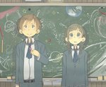 1boy 1girl :o >:) adjusting_clothes ahoge antennae arms_at_sides bangs belt blunt_bangs blush braid brown_eyes brown_hair chalk chalkboard drawing earth green_eyes lightning_bolt looking_at_viewer muted_color necktie original poripori_(popocox) saturn school_uniform skirt smile space standing star trail twin_braids ufo upper_body
