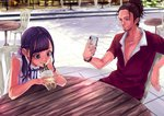 1boy 1girl black_hair braid bubble_tea cellphone chair cup day disposable_cup dolo1327 dress drinking drinking_straw facial_hair hair_ornament hair_scrunchie highres huge_filesize jewelry necklace original outdoors phone ponytail red_shirt scrunchie shirt sideburns sleeveless table watch white_dress wristwatch