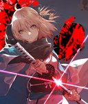 1girl ahoge arm_guards bangs black_bow black_scarf blonde_hair bow commentary_request diffraction_spikes drawing_sword fate_(series) fingernails floating_hair glint hair_between_eyes hair_bow half_updo haori highres holding holding_sheath holding_sword holding_weapon japanese_clothes katana kimono koha-ace kuwashima_rein long_fingernails long_sleeves looking_at_viewer obi okita_souji_(fate) parted_lips red_background ribbon sash scabbard scarf sheath shinsengumi short_hair sleeveless sleeveless_kimono solo sword unsheathing weapon white_kimono white_ribbon wide_sleeves yellow_eyes