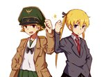 2girls alice_(openhexagon) black_ribbon black_skirt blonde_hair blue_eyes blush brown_eyes crossover erwin_(girls_und_panzer) eyebrows_visible_through_hair girls_und_panzer green_skirt hand_in_pocket kill_me_baby long_hair long_sleeves looking_at_viewer multiple_girls necktie ooarai_school_uniform open_mouth parted_lips red_neckwear ribbon short_hair skirt smile sonya_(kill_me_baby) star twintails
