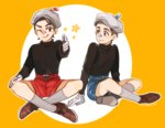 2boys artist_name bandaid bandaid_on_face belt black_shirt brothers cuphead cuphead_(game) eyelashes gloves grey_hair looking_at_another male_focus mugman multiple_boys personification pointing pointing_at_viewer rosel-d shirt shorts siblings sweater turtleneck turtleneck_sweater white_gloves yellow_background