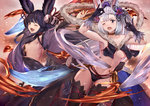 2girls ;d ;o animal_ears backless_outfit bell black_gloves black_hair black_legwear blue_eyes breasts choker cleavage cosplay costume_switch dress erun_(granblue_fantasy) fangs fox_shadow_puppet from_side gloves granblue_fantasy hair_bell hair_ornament jingle_bell large_breasts looking_at_viewer medium_breasts midriff multiple_girls navel one_eye_closed open_mouth outstretched_arms pak_ce red_eyes sideboob silver_hair smile socie_(granblue_fantasy) socie_(granblue_fantasy)_(cosplay) thighhighs underboob yuel_(granblue_fantasy) yuel_(granblue_fantasy)_(cosplay)