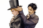 2boys black_hair bow dio_brando hat jojo_no_kimyou_na_bouken jonathan_joestar kilva_lollop multiple_boys top_hat