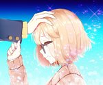 1boy 1girl blonde_hair blush cardigan closed_mouth commentary_request from_side glasses hand_up kanbara_akihito kuriyama_mirai kyoukai_no_kanata light_smile out_of_frame petting profile short_hair smile solo_focus sparkle tears the_cold upper_body yellow_eyes