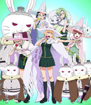 5girls animal_ears animal_hat armor bell bell_collar black_hair black_legwear blonde_hair blue_eyes book bow brown_eyes bunny cape cat_ears cat_hat chain collar empty_eyes eyepatch glasses green_eyes green_hair grimoire hair_ornament hat heart highres katsura_kotetsu kazari_rin kneehighs kuraishi_tanpopo long_hair looking_at_viewer menowa_mei metal_s microphone multiple_girls necktie open_mouth pink_hair pleated_skirt red_eyes school_uniform semi-rimless_glasses shirt shoes short_hair short_sleeves singing skeleton skirt skull standing utsugi_kanna white_shirt witch witch_craft_works witch_hat wolf yellow_eyes
