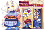 androgynous animated asgore_dreemurr commentary_request english food frisk_(undertale) furry happy_valentine multiple_boys pie pixel_art sans shigeru_arsw skeleton snail toriel ugoira undertale