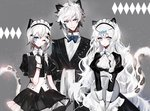 1boy 2girls ;) animal_ear_fluff animal_ears apron arknights bangs black_dress black_jacket blue_eyes blue_neckwear blush bow bowtie brown_eyes butler character_request closed_mouth collared_shirt dress eyebrows_visible_through_hair frilled_dress frills gloves grey_background hair_between_eyes highres holding holding_tray jacket juliet_sleeves long_hair long_sleeves maid maid_headdress menu moemoe3345 multiple_girls one_eye_closed puffy_sleeves shirt smile tail tail_raised tray v-shaped_eyebrows very_long_hair waist_apron white_apron white_gloves white_hair white_shirt