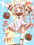 1girl alternate_hairstyle anklet armpits arms_up barefoot black_panties blue_eyes fang hair_ornament hair_ribbon hairclip horns jewelry kagamine_rin kantai_collection mittens monster northern_ocean_hime open_mouth panties ribbon sharp_teeth shinkaisei-kan solo thrux translated underwear vocaloid white_hair
