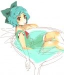 1girl cirno cup drinking_straw hair_ornament hairclip in_container in_cup meeko minigirl sketch solo touhou