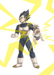 2boys armor baby bib black_eyes black_hair boots clenched_teeth closed crying dragon_ball dragon_ball_z father_and_son gloves hat highres holding male_focus multiple_boys open_mouth spiked_hair tears teeth trunks_(dragon_ball) uirina vegeta white_boots white_gloves widow's_peak