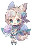 animal_ears bangs blue_eyes boots bow chibi clean-lady commission flower fox_ears fox_tail full_body hair_bow hair_flower hair_ornament hydrangea hydrangea_hair_ornament kouri_(kouriiko) open_mouth original scarf short_hair smile tail transparent_background white_hair