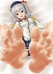 1girl aonagi_ibane bare_legs barefoot blue_eyes breasts buttons commentary_request eyebrows_visible_through_hair feet giantess highres jacket kantai_collection kashima_(kantai_collection) large_breasts legs_up long_sleeves looking_at_viewer lying military_jacket nail_polish no_shoes pink_nails pov_feet sidelocks silver_hair soles toenail_polish toenails toes twintails wavy_hair white_jacket