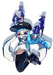1girl ;d arms_up bangs baseball_cap black_footwear black_headwear black_legwear blue_eyes blue_hair blue_jacket blue_tongue blunt_bangs commentary dapple_dualies_(splatoon) domino_mask dual_wielding facing_viewer fang full_body hat holding holding_weapon ink_tank_(splatoon) inkling jacket jumping leggings long_hair long_sleeves mask navel one_eye_closed open_mouth pointy_ears shadow shoes simple_background single_vertical_stripe smile solo splatoon_(series) splatoon_2 tentacle_hair twitter_username weapon white_background yeneny