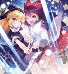 2girls :d ahoge between_fingers blonde_hair boots bow brown_footwear commentary_request danmaku detached_sleeves dress dutch_angle folded_leg frilled_skirt frills grin hair_bow hakurei_reimu hakurei_reimu_(pc-98) hat head_tilt high_collar highres holding holding_hands holding_wand interlocked_fingers katayama_kei kirisame_marisa kirisame_marisa_(pc-98) laser long_hair looking_at_viewer multiple_girls ofuda one_eye_closed open_mouth purple_dress purple_hair red_eyes red_skirt short_sleeves skirt smile standing standing_on_one_leg star starry_background teeth touhou touhou_(pc-98) very_long_hair wand witch_hat yellow_eyes
