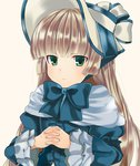 1girl bad_id bangs blonde_hair blue_dress blunt_bangs bonnet bowtie capelet dress frilled_sleeves frills gosick gothic_lolita green_eyes hands_clasped hime_cut interlocked_fingers light_smile lolita_fashion long_hair long_sleeves looking_at_viewer puffy_long_sleeves puffy_sleeves solo tooda_riko upper_body victorica_de_blois white_background wide_sleeves