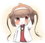 1girl :3 :d ahoge arm_up azur_lane bangs blush brown_eyes brown_hair chibi cottontailtokki dress eyebrows_visible_through_hair hairband hairpods head_tilt jacket long_hair long_sleeves looking_at_viewer lowres open_mouth ping_hai_(azur_lane) red_dress smile solo twintails v-shaped_eyebrows very_long_hair white_hairband white_jacket