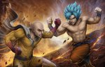 2boys abs angry bald battle belt boots cape clenched_hands clenched_teeth commentary crack crossover deviantart_username dragon_ball duel energy english_commentary epic fire gloves ground_shatter manly molten_rock multiple_boys muscle one-punch_man pointy_hair realistic saitama_(one-punch_man) sam_delatore shirtless signature son_gokuu spiked_hair teeth torn_clothes