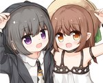 2girls :d arm_up bangs bare_shoulders black_hair black_jacket black_neckwear blush brown_eyes brown_hair brown_headwear collared_shirt commentary_request dress eyebrows_visible_through_hair hair_between_eyes hat hood hood_up hooded_jacket jacket long_hair looking_at_viewer multiple_girls necktie open_clothes open_jacket open_mouth original pointy_ears purple_eyes shirt simple_background sleeveless sleeveless_dress smile sun_hat tie_clip white_background white_dress white_shirt yuuhagi_(amaretto-no-natsu)