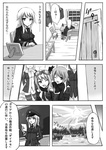 comic constantia_harvey doujinshi goggles monochrome ogitsune_(ankakecya-han) one_eye_closed photo_(object) strike_witches strike_witches_1940 striped striped_legwear translated uniform