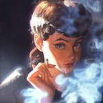 1girl between_fingers blade_runner brown_eyes brown_hair cigarette face ilya_kuvshinov lips long_hair looking_at_viewer rachel_(blade_runner) smoke solo