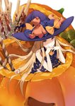 1girl abigail_williams_(fate/grand_order) blonde_hair blue_eyes bow commentary_request fate/grand_order fate_(series) food hair_bow hair_flowing_over halloween hat heart ice_(ice_aptx) in_food jack-o'-lantern long_hair mini_flag orange_bow pocky polka_dot polka_dot_bow pumpkin purple_bow purple_hat solo stuffed_animal stuffed_toy teddy_bear very_long_hair witch_hat