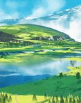 1girl absurdres asuteroid backpack bag cloud grass highres hill iris_(asuteroid) lake mountain mountainous_horizon original road scenery tree very_wide_shot