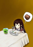 1girl 2_fuel_4_ammo_11_steel akagi_(kantai_collection) bauxite brown_hair bucket fine_art_parody fork highres i_asked_for_scrambled kantai_collection kimura_shuuichi long_hair muneate parody plate solid_oval_eyes solo table water