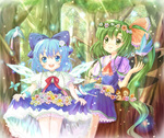 2girls ascot bird blue_dress blue_eyes blue_hair bow cirno daiso daiyousei dress dress_lift fairy flower forest green_eyes green_hair hair_bow hair_ribbon head_wreath ice long_hair multiple_girls nature open_mouth ribbon short_hair sitting skirt_basket smile squirrel standing sunlight touhou tree wings